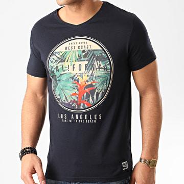 La Maison Blaggio - Tee Shirt Col V Manedo Bleu Marine