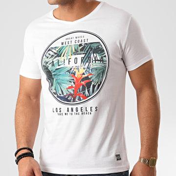 La Maison Blaggio - Tee Shirt Col V Floral Manedo Blanc