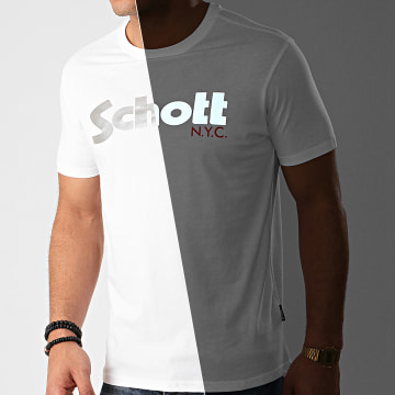 Schott NYC - Tee Shirt Réfléchissant White Reflect Blanc