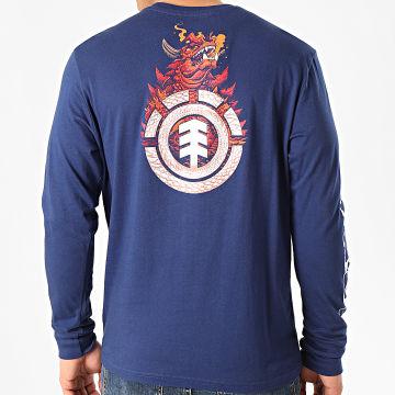 Element - Tee Shirt Manches Longues Florian Bleu Marine