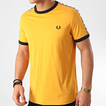 Fred Perry - Tee Shirt A Bandes Taped Ringer M6347 Jaune Moutarde