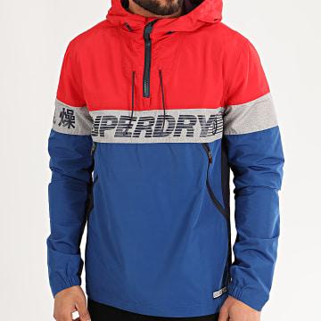 Superdry - Coupe-Vent Col Zippé Capuche Ryley M5010009A Rouge Bleu Roi