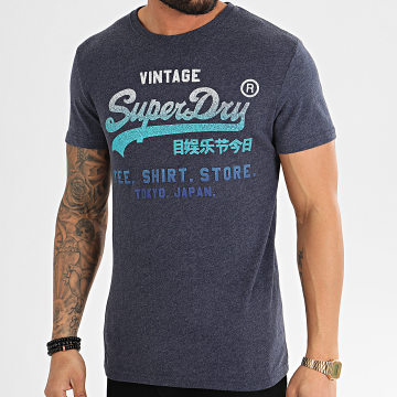 Tee Shirt Vintage Fade Store M1010093A Bleu Marine Chiné