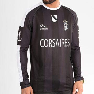 La Piraterie - Tee Shirt Manches Longues A Bandes Corsaire Noir