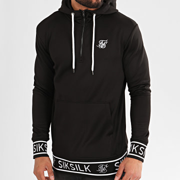 SikSilk - Sweat Col Zippé Capuche Branded Rib 15422 Noir