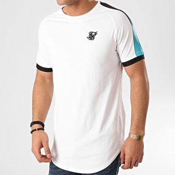 SikSilk - Tee Shirt Oversize A Bandes Inset Cuff Fade Panel Tech 15804 Blanc