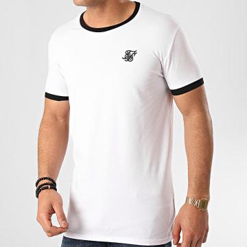 SikSilk - Tee Shirt Inset Straight Hem Ringer Gym 15764 Blanc