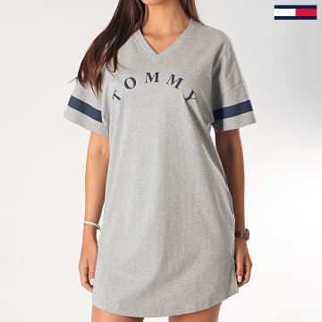 Tommy Hilfiger - Robe Tee Shirt Col V Femme 1942 Gris Chiné