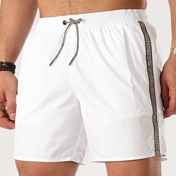 Short De Bain A Bandes 211740-0P420 Blanc