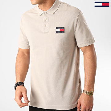 Tommy Jeans - Polo Manches Courtes Tommy Badge 7456 Beige