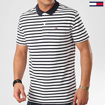 Polo Manches Courtes Tommy Classic Stripe 7799 Blanc Bleu Marine