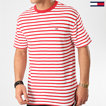 Tee Shirt Tommy Stripe 7808 Blanc Rouge