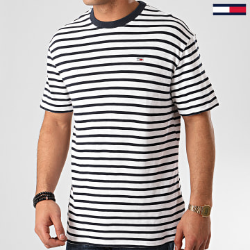 Tommy Jeans - Tee Shirt Tommy Stripe 7808 Blanc Bleu Marine