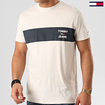 Tee Shirt Chest Stripe Logo 7858 Ecru Chiné