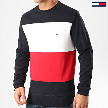 Sweat Crewneck Tricolore Colorblock 2872 Bleu Marine