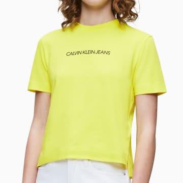 Calvin Klein - Tee Shirt Femme Crop 2879 Jaune