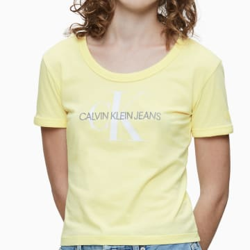Calvin Klein - Tee Shirt Femme Crop 3561 Jaune