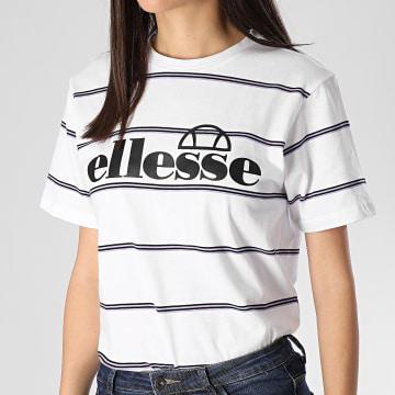 Tee Shirt Femme A Rayures Pianna SGE08424 Blanc