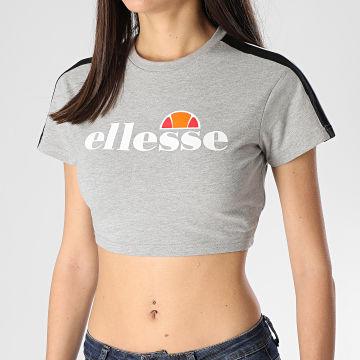 Tee Shirt Crop Femme A Bandes Bobbie SGE08430 Gris Chiné