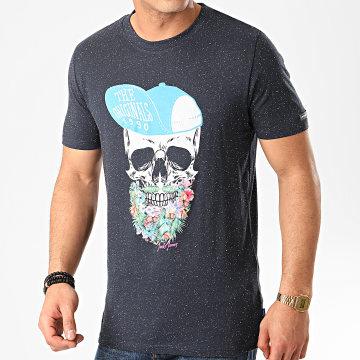 Tee Shirt Sun Skull Bleu Marine