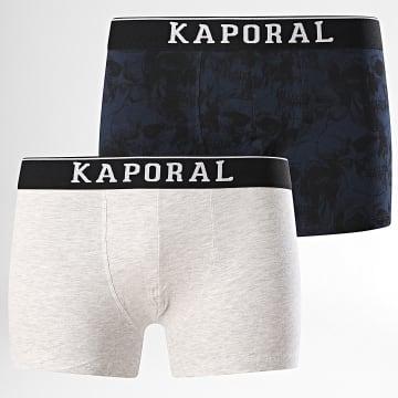 Kaporal - Lot De 2 Boxers Qeror Bleu Marine Gris Chiné