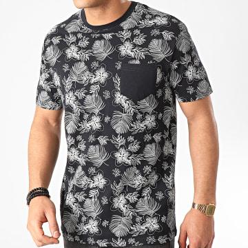 Tee Shirt Poche Mattews Bleu Marine Floral