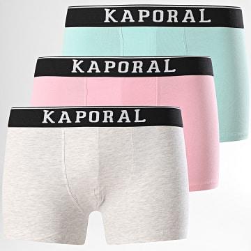 Kaporal - Lot De 3 Boxers Quad Rose Bleu Gris Chiné