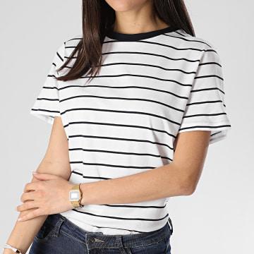 Tee Shirt Femme A Rayures Best Life Blanc