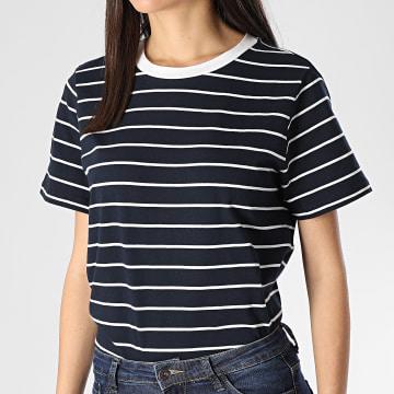 Tee Shirt Femme A Rayures Best Life Bleu Marine