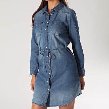Only - Robe Jean Femme Manches Longues Bill Bleu Denim
