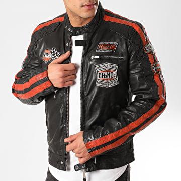 Redskins - Veste Biker A Bandes Ripper Calista Noir