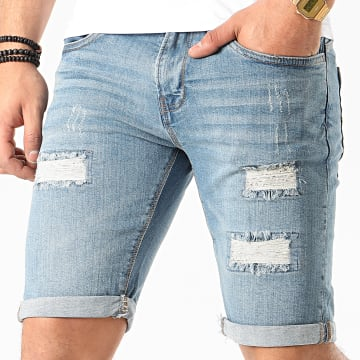 Indicode Jeans - Short Jean Kaden Holes Bleu Denim