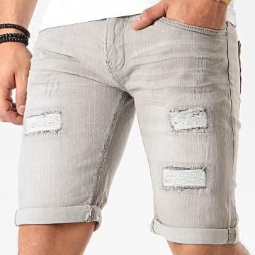 Indicode Jeans - Short Jean Kaden Holes Gris