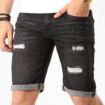 Indicode Jeans - Short Jean Kaden Holes Noir