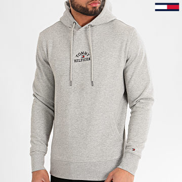 Sweat Capuche Basic Embroidered 3037 Gris Chiné