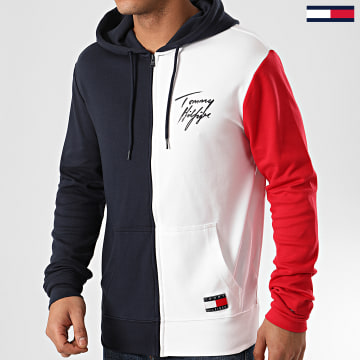 Sweat Zippé Capuche FZ Color Block 1804 Bleu Marine Blanc Rouge
