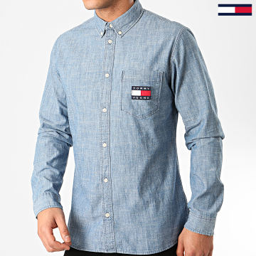 Tommy Jeans - Chemise Manches Longues Chambray Badge 7922 Bleu Clair Chiné