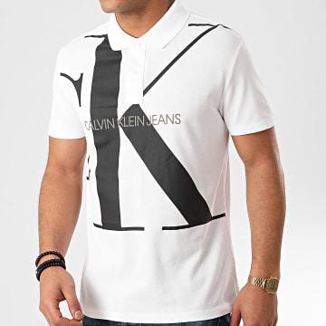 Calvin Klein - Polo Manches Courtes Upscale Monogram 5358 Blanc