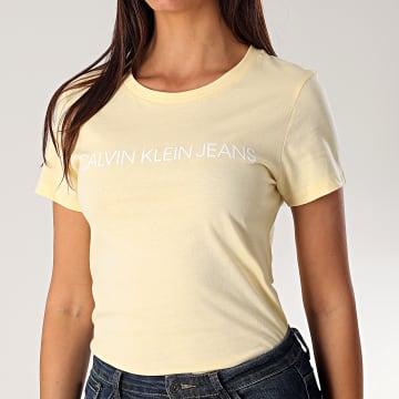 Calvin Klein - Tee Shirt Femme 3127 Jaune Pale