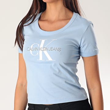 Calvin Klein - Tee Shirt Femme Crop 3561 Bleu Ciel