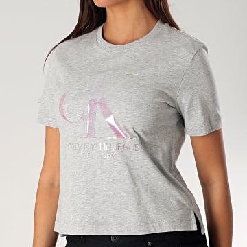 Calvin Klein - Tee Shirt Femme Crop 3568 Gris Chiné