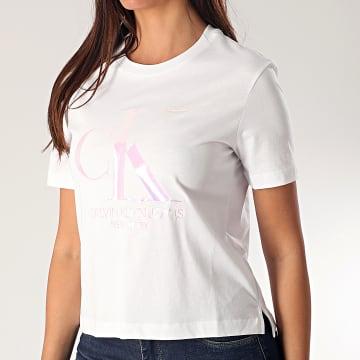Calvin Klein - Tee Shirt Femme Crop 3568 Blanc