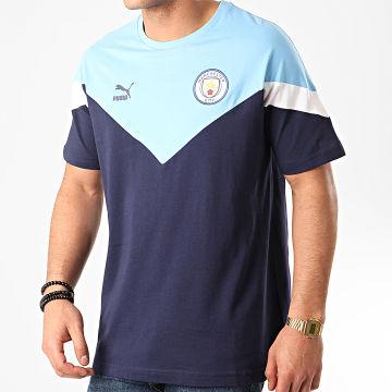 Tee Shirt MCFC Iconic 756665 Bleu Marine Bleu Clair
