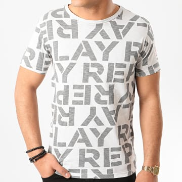 Replay - Tee Shirt All Over Logo Slub M3029 Gris Chiné