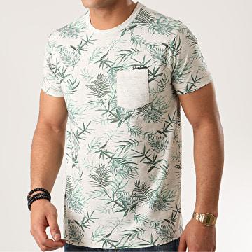 Deeluxe - Tee Shirt Poche Floral Aloe Beige Chiné