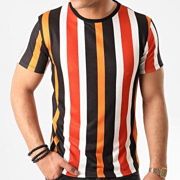 Tee Shirt A Rayures 7175 Noir Blanc Orange