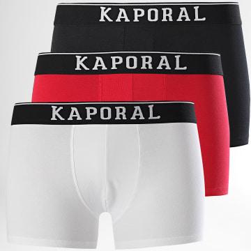 Kaporal - Lot De 3 Boxers Quad Noir Blanc Rouge
