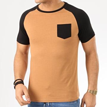 LBO - Tee Shirt Raglan 1019 Noir Camel