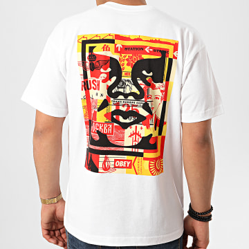 Obey - Tee Shirt 3 Face Collage Blanc