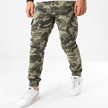 Terance Kole - Pantalon Cargo Camouflage 13051 Vert Kaki